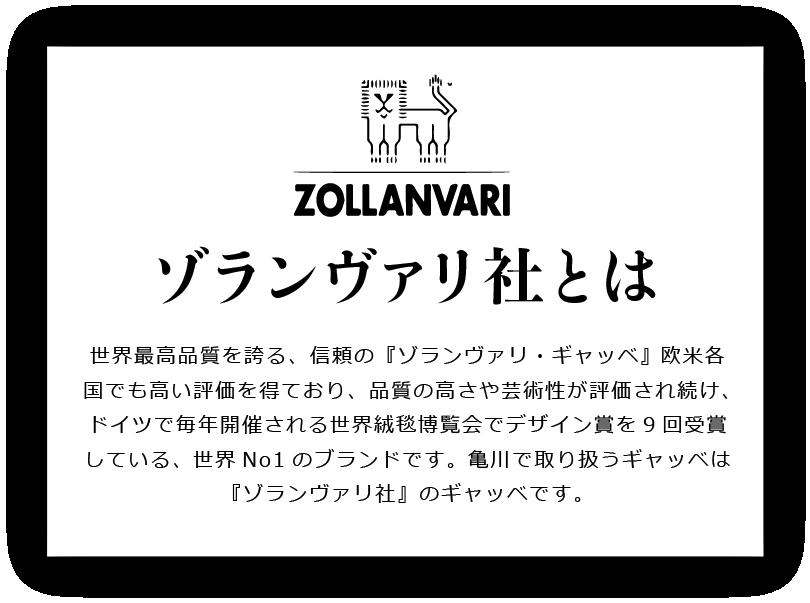 ゾランヴァリ社とは世界最高品質を誇る、信頼の『ゾランヴァリ・ギャッベ』 欧米各国でも高い評価を得ており、品質の高さや芸術性が評価され続け、ドイツで毎年開催される世界絨毯博覧会でデザイン賞を9回受賞している。 世界No1のブランドです。亀川で取り扱うギャッベは『ゾランヴァリ社』のギャッベです。